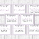 Purple & Grey Chevron Baby Shower Table Signs - 8 Printable Signs #A370