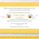 Yellow & Grey Bumble Bee Printable Baby Shower Invitation Editable PDF #A359