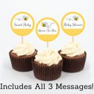 Yellow & Grey Bumble Bee Cupcake Toppers Party Favor Tags Printable #A359