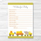 Yellow Construction Trucks Printable Baby Shower Wishes For Baby Advice Cards #A117