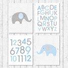 Blue Chevron Elephant Printable Nursery Wall Art #A187
