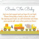 Yellow Construction Trucks Printable Baby Shower Book Request Cards #A117