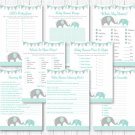 Mint Green & Grey Chevron Elephant Baby Shower Games Pack - 8 Printable Games #A375