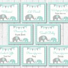 Mint Green & Grey Chevron Elephant Baby Shower Table Signs - 8 Printable Signs #A375