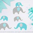 Teal Chevron Elephant Party Cutouts Decorations Printable #A374