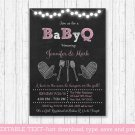 Pink Chalkboard BaByQ BBQ Printable Baby Shower Invitation Editable PDF #A366