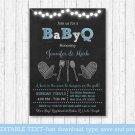 Blue Chalkboard BaByQ Coed BBQ Printable Baby Shower Invitation Editable PDF #A402