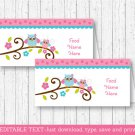 Pink Woodland Owl Buffet Tent Cards & Place Cards Editable PDF #A162