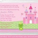 Princess Frog Pink Castle Printable Baby Shower Invitation Editable PDF #A209