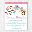 Pink Woodland Owl Diaper Thoughts Late Night Diaper Baby Shower Game #A162