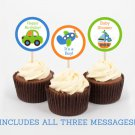 Transportation Vehicles Car Sailboat Cupcake Toppers Party Favor Tags Printable #A111