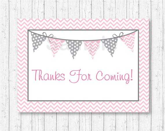 Modern Pink Chevron Printable Party Favor Thank You Tags #A127