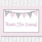 Modern Pink Chevron Printable Party Favor Thank You Tags #A127