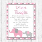 Pink & Gray Elephants Diaper Thoughts Late Night Diaper Baby Shower Game #A160