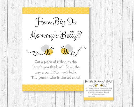 Yellow & Grey Bumble Bee Gender Neutral How Big Is Mommys Belly Baby Shower Game #A359
