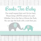 Mint Green & Grey Chevron Elephant Printable Baby Shower Book Request Cards #A375