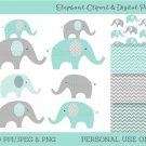Mint Green & Grey Chevron Elephant Chevron Pattern Clipart & Digital Paper #A375