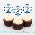 Nautical Anchor Cupcake Toppers Party Favor Tags Editable PDF #A222