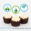 Transportation Vehicles Car Plane Cupcake Toppers Party Favor Tags Editable PDF #A143