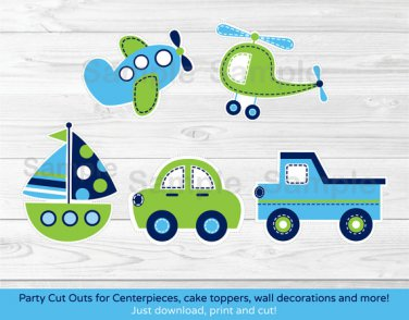 Transportation Vehicles Car Airplane Boat Party Cutouts Decorations Printable #A143