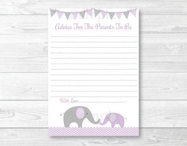 Purple Chevron Elephant Printable Baby Shower Mommy Advice Cards #A184