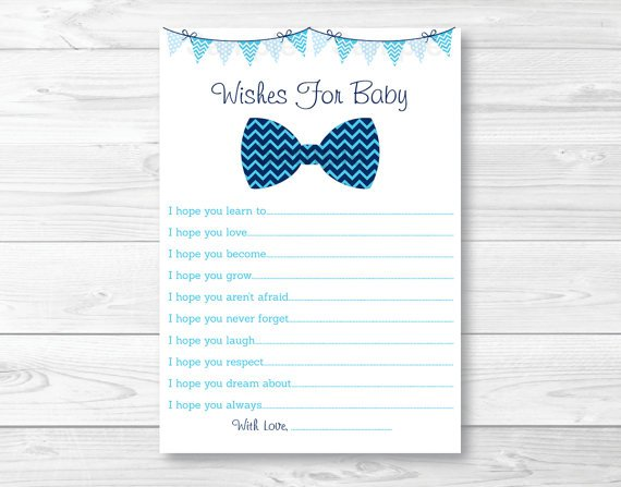 Little Man Chevron Bow Tie Printable Baby Shower Wishes For Baby Advice Cards #A369
