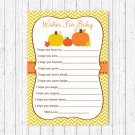 Pumpkin Chevron Orange Yellow Printable Baby Shower Wishes For Baby Advice Cards #A400