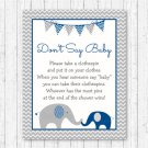 Navy Blue & Grey Chevron Elephant Dont Say Baby Baby Shower Game Printable #A373