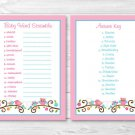 "Pink Baby Owl Love Birds Printable Baby Shower ""Baby Word Scramble"" Game Cards #A253"