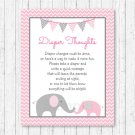 Pink Chevron Elephant Diaper Thoughts Late Night Diaper Baby Shower Game #A186