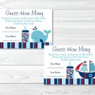 """Pirate Ship Nautical Whale Printable Baby Shower """"Guess How Many?"""" Game Cards #A287"""