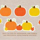 Pumpkin Chevron Orange Yellow Gender Neutral Party Cutouts Decorations Printable #A400