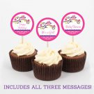 Girl Owl Blossom Pink & Purple Printable Cupcake Toppers Party Favor Tags #A133