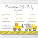 Yellow Construction Trucks Baby Shower Baby Predictions Game Cards Printable #A117