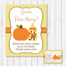 "Pumpkin Chevron Printable Baby Shower ""Guess How Many?"" Game Cards #A400"