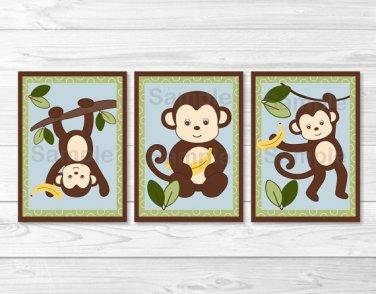 Cute Little Monkey Printable Nursery Wall Art #A406
