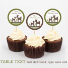 Woodland Deer Gender Neutral Cupcake Toppers Party Favor Tags Editable PDF #A131