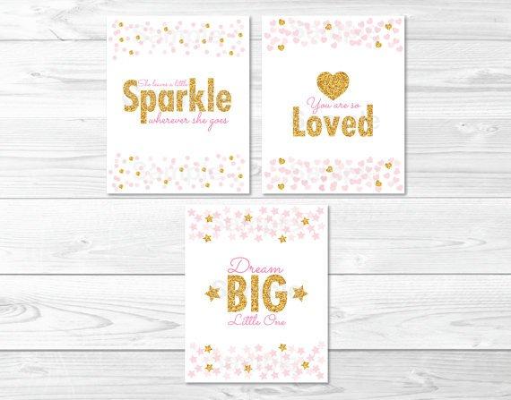 Blush Pink & Gold Glitter Dream Big Little One Printable Nursery Wall Art #A368