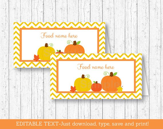 Pumpkin Chevron Gender Neutral Buffet Tent Cards & Place Cards Editable PDF #A400