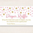 Twinkle Star Pink & Gold Printable Baby Shower Diaper Raffle Tickets #A358