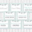 Mint Green & Grey Chevron Baby Shower Table Signs - 8 Printable Signs #A364