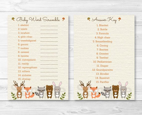 """Woodland Forest Animals Printable Baby Shower """"Baby Word Scramble"""" Game Cards #A191"""