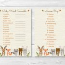 "Woodland Forest Animals Printable Baby Shower ""Baby Word Scramble"" Game Cards #A191"