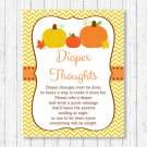 Pumpkin Chevron Printable Diaper Thoughts Late Night Diaper Baby Shower Game #A400