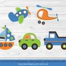 Transportation Vehicles Car Sailboat Plane Printable Party Cutouts Decorations #A111
