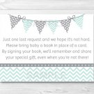 Mint Green & Grey Chevron Printable Baby Shower Book Request Cards #A364
