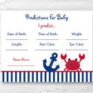 Nautical Crab Under The Sea Printable Baby Shower Baby Predictions Game Cards #A182