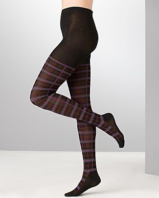 1 PAIR OF HUE PLAID PATTERN SWEATER TIGHTS SZ S/M