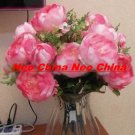 50PCS, Christmas/wedding bouquet,High simulation silk flower/artificial flower,9 flowers peony