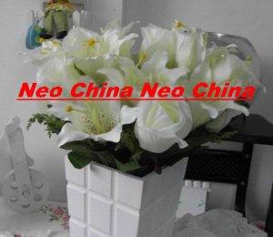 50 PCS,wedding bouquet,High simulation silk flower/artificial flower,6 rose and 6 lily per bunch